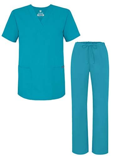 Adar Uniformes médicos Unisex - Uniformes médicos Unisex con cordón - 701 - Teal Blue - S
