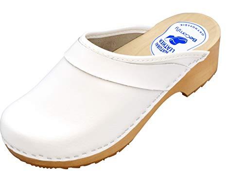 BeComfy - Zuecos de Madera con Cuero para Mujeres - Zapatos para el Trabajo - Suela Reforzada con una Capa de Goma Elástica - Blanco, Negro, Azul Marino, Flores (41 EU, Blanco-Liso)
