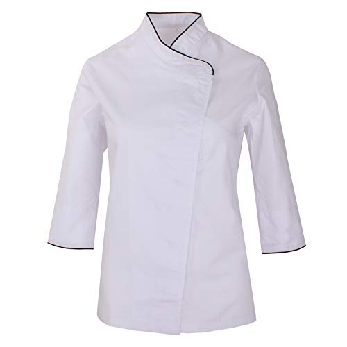 MISEMIYA - Chaquetas Uniformes Chef COCINERA Bar Restaurante HOSTELERÍA Mangas LARGAS - Ref.703 - Medium, Blanco