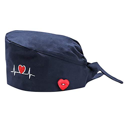 Cloudkids Sombrero Enfermera Unisex Ajustable Bordado Palpitación Sombrero Quirófano Reutilizable Dentista Robin Hat para Mujers Hombres Gorro de Trabajo Algodón Lavable (Azul Marino)