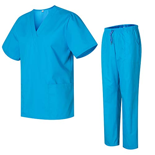 Uniformes Uno Médico Unisex con Casaca y Pantalones Sanitarios 301-501 - XS, Celeste
