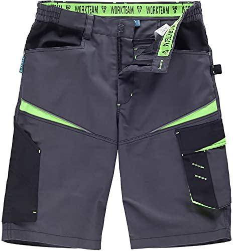 Workteam Pantalón Corto de Trabajo, Tejido Canvas (Extremadamente Resistente y Duradero). Elástico en la Cintura. Unisex Gris Oscuro+Negro+Verde Lima L