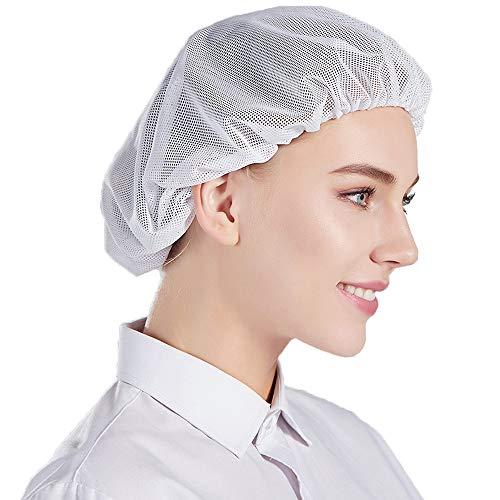 Nanxson 5pcs Unisex Mob Caps Malla Taller Industrial Trabajo de protección Sombreros de Cocina elásticos Red para el Cabello CF9023 (Blanco (Paquete de 5), L)
