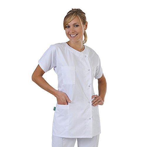Label Blouse Julia - Bata médica para Mujer, Cerradura de Botones a presión, Color Blanco - T0-36