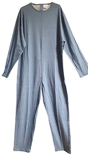 Pijama entero sanitario para personas con cremallera, 100 % algodón, manga larga (azul, menor)