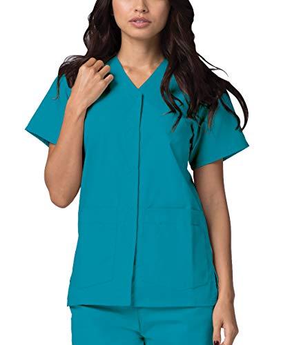 Adar Uniformes médicos para Mujer - Casaca Sanitaria Frontal a presión - 604 - Teal Blue - S