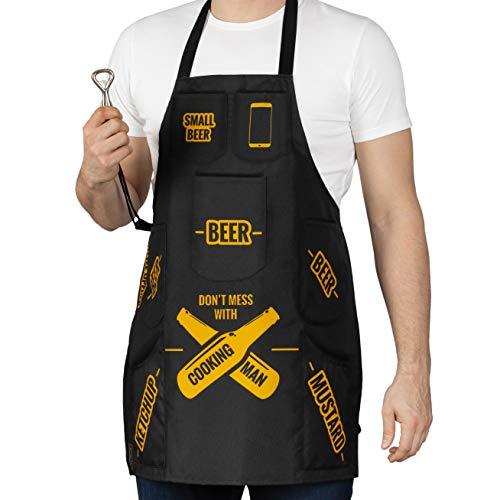 Froster - Delantal para hombre con bolsillos para cerveza, ketchup y mostaza - para parrilla, barbacoa o cocina - abridor de botellas incluido, regalo divertido, resistente al agua