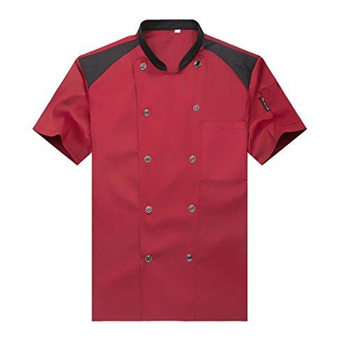 Camisa de Cocinero Cocina Uniforme Manga Corta Rojo