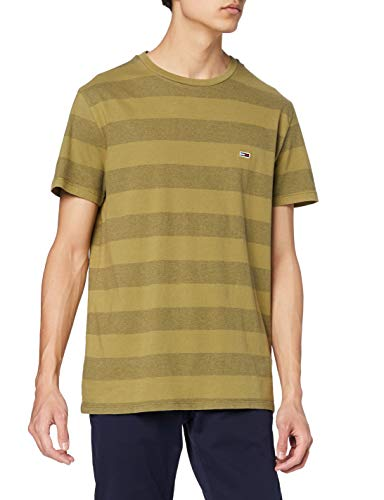 Tommy Jeans TJM Bold tee Camiseta, Verde (Uniform Olive Stripe 0cd), Large para Hombre