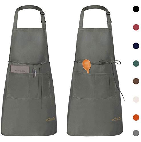 Viedouce 2 Piezas Delantales Impermeables Ajustables del Cocinero con Bolsillo Cocina Delantale para Mujeres Hombres,Delantal Chefs Cocina (Gris)