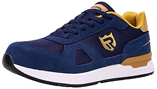 LARNMERN PLUS Zapatos de Seguridad Hombre Mujer Trabajo Punta Acero Zapatillas Seguridad Comodo Ligeros Antideslizante Calzado Seguridad Deportivo Verano(42EU,Azul)