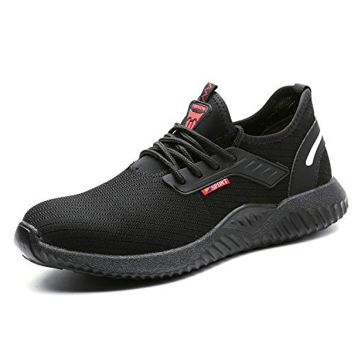 UCAYALI Zapatos de Seguridad con Punta de Acero para Hombre Zapatillas de Trabajo Puntera Reforzada Calzado de Protección Industria Construcción - Cómodos Ligeros y Antideslizantes(Negro, 42)
