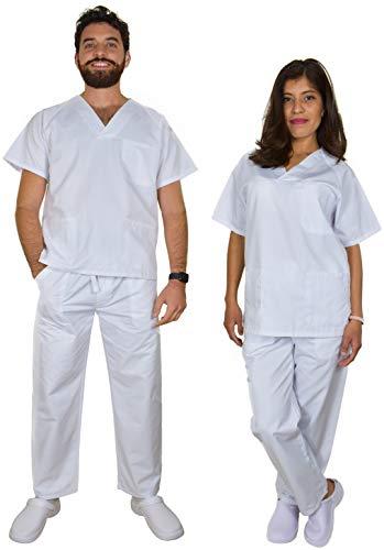BeBright Uniformes Sanitarios Mujer y Hombre, Pijama Sanitario Blanco, Casaca y Pantalón Enfermera (Blanco, M)