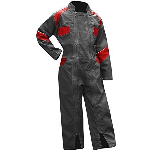 LMA–Mono de trabajo para niño, 2Cremalleras, girasol–bicolor gris/rojo