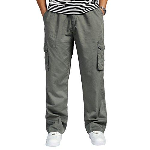 Lvguang Hombre Pantalones Cargo de Senderismo de Transpirable Cintura Elástica Trabajar Pantalones de Talla Grande Pantalón (Ejército Verde, Asia 6XL)