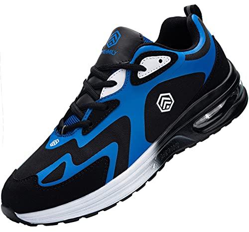 Fenlern Zapatillas de Seguridad Hombre Ligeras Zapatos de Seguridad Trabajo Punta de Acero Calzado de Seguridad con Colchón de Aire (Azul Marino,43 EU)