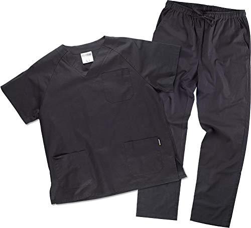 Work Team Uniforme Sanitario, con elástico y cordón en la Cintura, Casaca y Pantalon Unisex Negro L