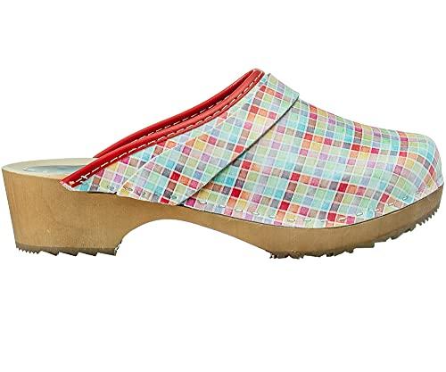ESTRO Zuecos De Madera para Mujer Calzado Sanitario De Trabajo CDL06 (Cuadros, Numeric_35)