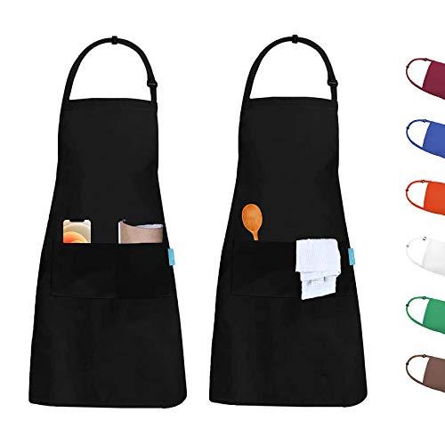 esafio 2 Piezas Delantal, Unisex Delantales de Cocinero para Restaurante Barbacoa Cocinar Hornear Color Negro