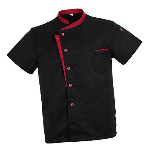 Baoblaze Camisa Mezclilla Unisex Chef Chaqueta Arrugas Resistente Confortable Mangas Cortas Camiseta Cocina Uniforme Emocionante - Negro XL, como se describe