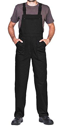 Pantalones con peto de trabajo para hombre, Made in EU, Mono de trabajo, Azur, blanco, rojo, verde, negro (S, Negro)