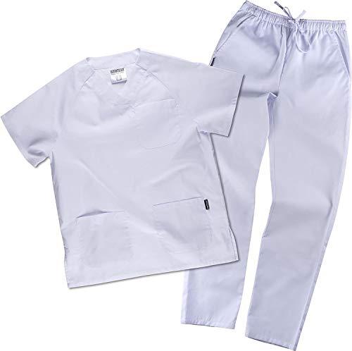 Work Team Uniforme Sanitario, con elástico y cordón en la Cintura, Casaca y Pantalon Unisex Blanco L