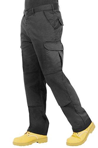 ProLuxe Endurance - Pantalones Tipo Cargo, de Combate, con Bolsillos para Rodillera y Costuras reforzadas, Negro 30T