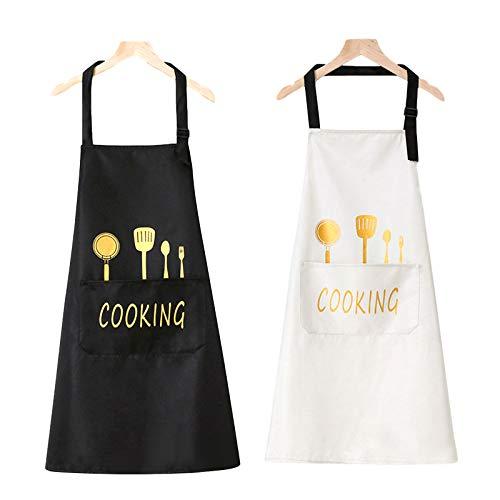 Hippodance 2 Piezas Delantales Impermeables Ajustables del Cocinero,Hombre Mujer Delantal Cocinero Mandil Cocina para Jardinería Restaurante Barbacoa Cocinar Hornear