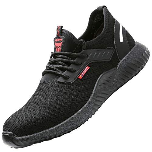 UCAYALI Zapatos de Seguridad Hombre Trabajo Comodos Ligeros Transpirables Zapatillas Trabajo Seguridad Deportivo Punta de Acero para Electricista Soldador Construccion Verano(015 Negro, 41 EU/255)