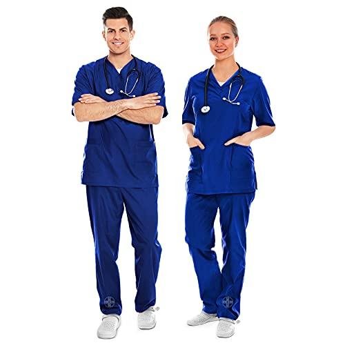 AIESI® Uniforme Sanitario Hombre Mujer de algodón 100% sanforizado Pantalones y Casaca con Cuello en V # Talla XXXL Azul Royal