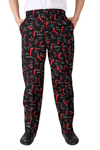 Insun Hombre Pantalones de Cocinero Pantalón Elástico para Chef Cocinero Trabajo Pantalones Negro Pimiento Rojo 38