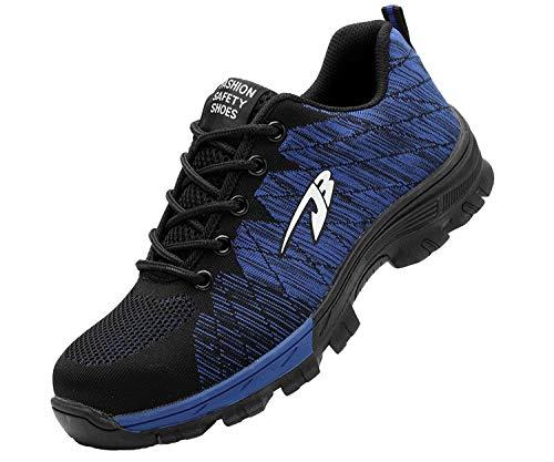 Zapatillas de Seguridad Hombre Zapatos de Mujer Antideslizante Transpirable Zapatos de Trabajo Calzado de Trabajo Ultra Liviano Suave y Cómodo Deportes Unisex, A Azul, 42 EU