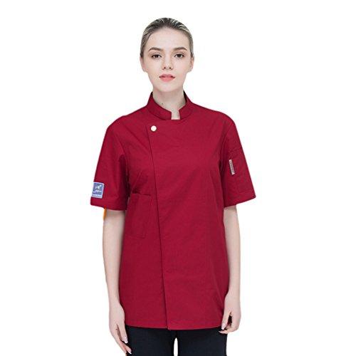 Dooxii Unisexo Mujeres Hombre Moda Verano Manga Corta Camisa de Cocinero Transpirable Chaquetas de Chef Uniforme Cocina Restaurante Occidental Rojo M