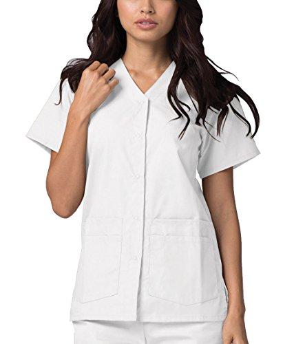 Adar Uniformes médicos para Mujer - Casaca Sanitaria Frontal a presión - 604 - White - XL