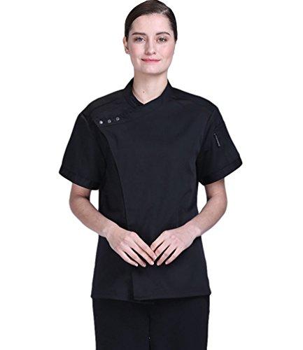 Dooxii Unisexo Hombre Mujeres Verano Manga Corta Camisa de Cocinero Transpirable Pastel para Hornear Chaquetas de Chef Uniforme Cocina Restaurante Occidental Negro M