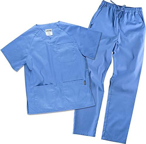 Work Team Uniforme Sanitario, con elástico y cordón en la Cintura, Casaca y Pantalon Unisex Celeste XS
