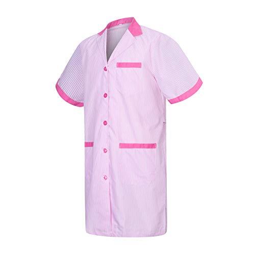 MISEMIYA - Bata Laboratorios Caballero Cuello Solapa con Manga Larga Uniforme Laboral CLINICA Hospital Limpieza Ref:816 (Fucsia, XL)