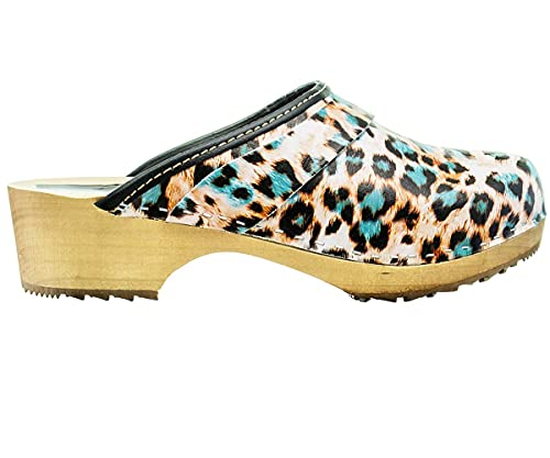 ESTRO Zuecos De Madera para Mujer Calzado Sanitario De Trabajo CDL06 (Pantera, Numeric_36)