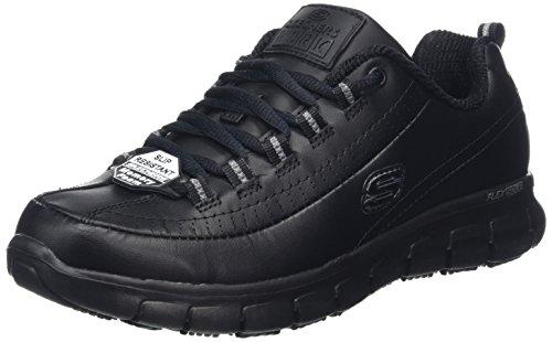 Skechers Sure Track-Trickel, Zapatos de Trabajo Mujer, Negro (BLK Black Leather), 40 EU