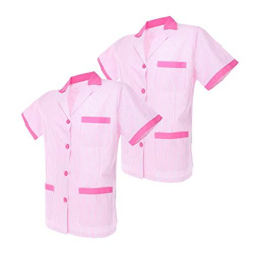 MISEMIYA - Pack*2-Camisa Camisetas Mujer Medica Mangas Cortas Uniforme Laboral Sanitarios Hospital Limpieza Ref.T820 - S, Rosa