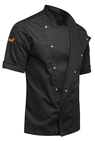 strongAnt® - Chaqueta Cocinero de Manga Corta. Uniforme de Chef Hombre. Ropa de Cocina. Tela de algodón/Tencel - Estilo Delgado, Ajuste Delgado - Hecho en EU - Noir XXL