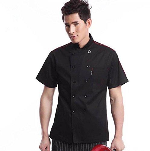 WAIWAIZUI Cocina Uniforme Camisa de Cocinero Manga Corta, Color Negro, XL