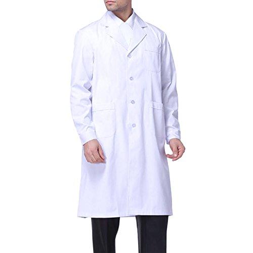 Sasairy Unisex Bata Médico Manga Larga Bata de Laboratorio Enfermera Sanitaria de Trabajo para Médicos Científico