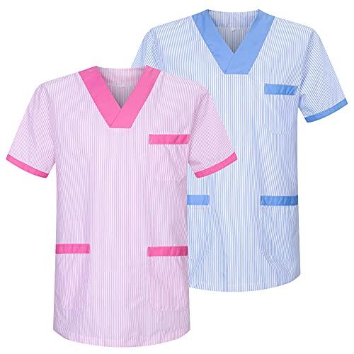 MISEMIYA - Pack*2 - Camisa Camisetas Unisex Uniformes LABORARES ESTÉTICA Dentista - Ref:T817 - L, Mixto