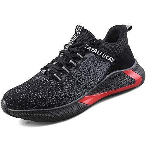 UCAYALI Zapatillas de Seguridad Hombre Calzado de Trabajo Cómodo Zapatos de Seguridad con Punta de Acero Zapatos Protección Deportivos Negro Gr.43
