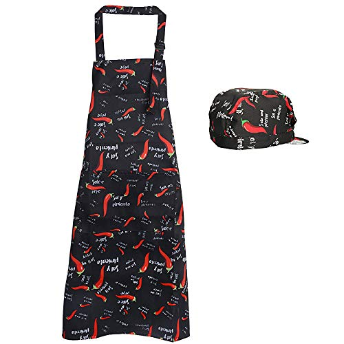 JNCH Kit Delantal de Cocina + Gorro de Cocina Delantal Babero Delantal Largo con Bolsillo Negro para Hombre Mujer Unisex Chef Cocinero Camarero Hogar Restaurante Bar Pandería Hotel (Pimiento Rojo)