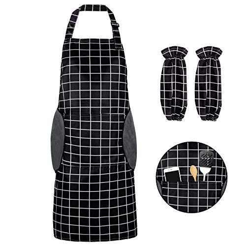 Delantal de Cocina, Unisex Delantal de Trabajo con Tira de Cuello Ajustable y 2 bolsillos y mangas, para Hornear Jardinería Restaurante Barbacoa, para Hombres y Mujeres