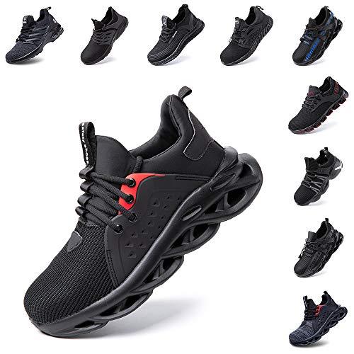 Zapatos De Seguridad Hombre Mujer Ligeros Transpirables Trabajo Punta De Acero Antideslizantes Zapatillas Negro 43 EU