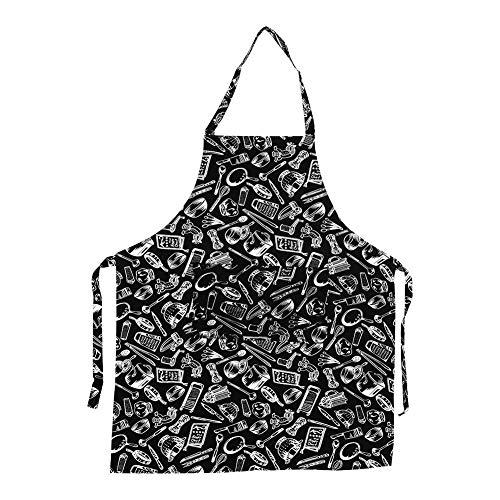 Delantal de Cocina Unisex con Cuello Ajustable, 5 patrones para Hombres y Mujeres Delantal con 2 bolsillos para la cocina restaurante(#3 Cook Tools)