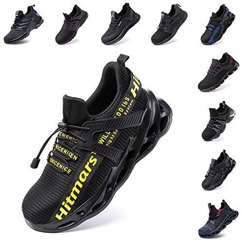 Zapatos de Seguridad Hombre Mujer Zapatillas de Trabajo con Punta de Acero Ligeros Calzado de Industrial y Deportivos Sneaker Negro Azul Gris Número 36-48 EU Amarillo 43